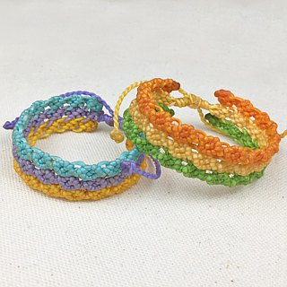 [Three color small flowers] silk wax line braided bracelet