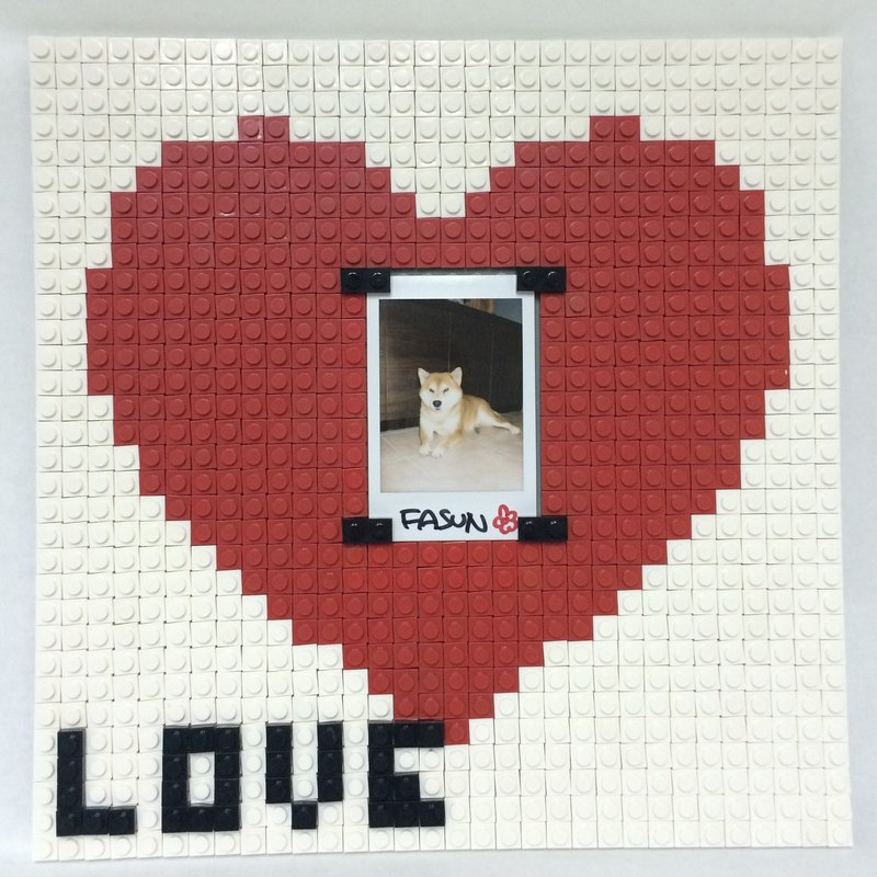 """Red Heart"" brick photo frame puzzle boxset Size 26x26 cm"
