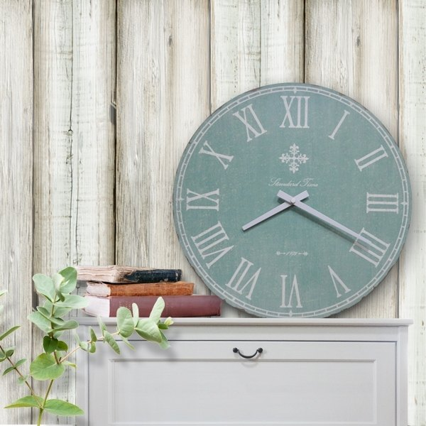 Vintage wood wall clock - light green - gray - Roman numerals - mute round -38cmX38cm-