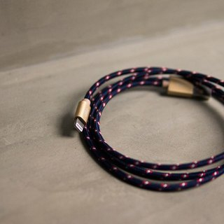 Alto Knitted Lightning Cable - Navy/Champagne Gold