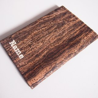 Paralife YOUR NAME's Wooden Grain Cork Passport Cover Case Holder
