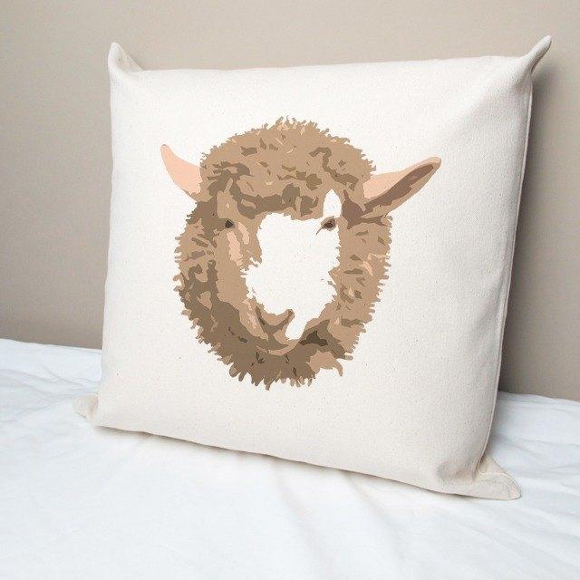 小綿羊 純棉帆布抱枕
