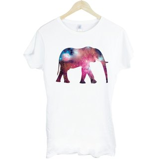Elephant-Galaxy Girl short-sleeved T-shirt - white elephant galactic cosmic space abstract animal art design illustration Wen Qing