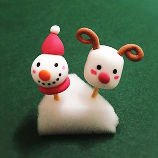 Christmas New Arrivals ~~ ~~ mini snowman deer and cotton candy earrings set (2 set) (can be changed ear clip type) ((over 600 were sent mysterious little gift))