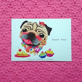 Pug Postcard-Sweet Time
