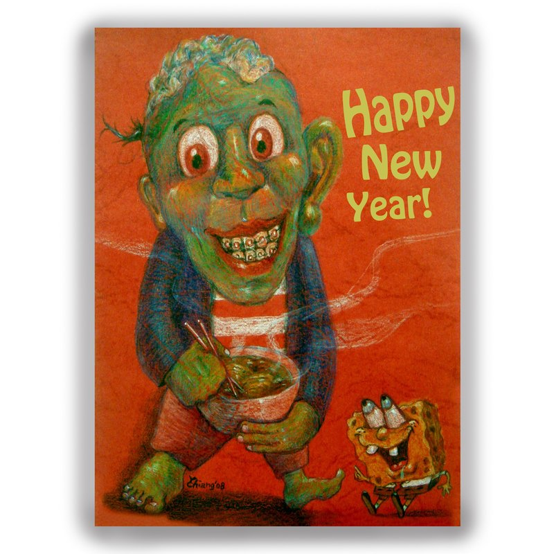new year hand painted illustrations universal card new year card postcard