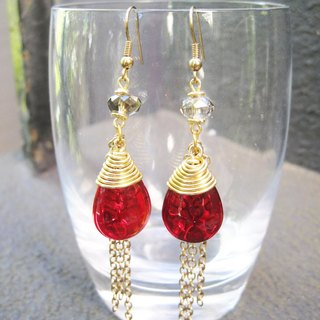 Ruby and Gray Crystal with Golden Tone Chain Drop Long Earrings (E633)