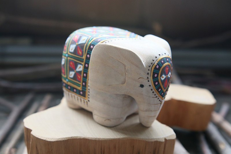 Painted wood elephant