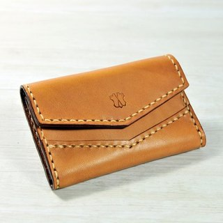MICO hand-sewn leather card case (light tea)