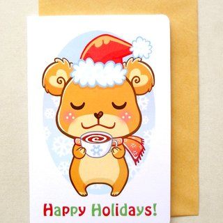 Happy Holidays Card: Cute Christmas Card, Bear Christmas Card, Holiday Card, Animal Card, Xmas Greeting Card, Seasons Greetings, Warm Wishes