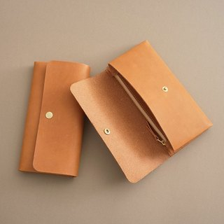 """RENÉE"" minimalist light card long clip / wallet / wallet plant tanning carving leather / plant tannage / vegetable tannery light yellow"