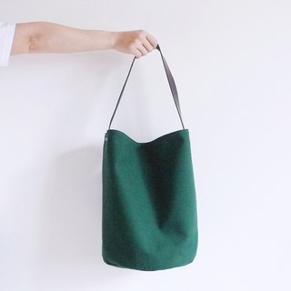 Tibetan green canvas large bucket (round) leather handle shoulder bag