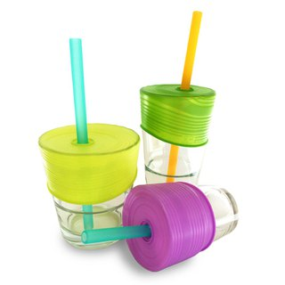 United States Silikids [Super Elastic Accompanying Silicone Environmental Straw Cup Set Three Into Group] Vivid Green Violet