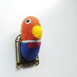 Mew in Wonderland ─ wool felt gentleman parrot wearing new clothes pins