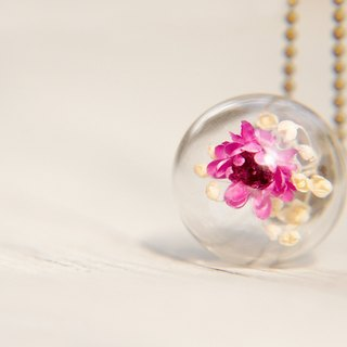 Valentine's Day gift / Forest Department / French glass dried flower Brass Necklace - bright purple flowers
