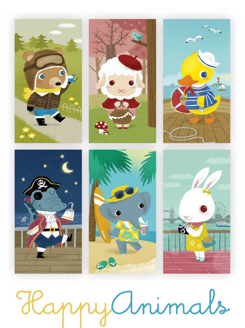 [Poca] illustration postcard: Happy Animals postcards group (six in)