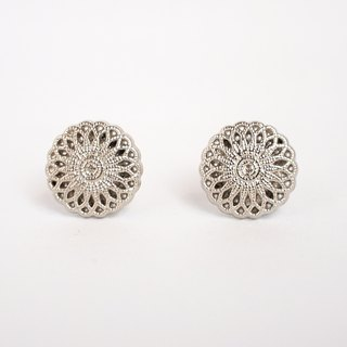 Circle dot Silver Sunflower Stainless Steel Earrings Earrings Earrings 304