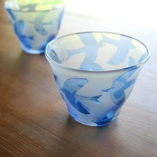 Hand-blown glass birds cold (blue)