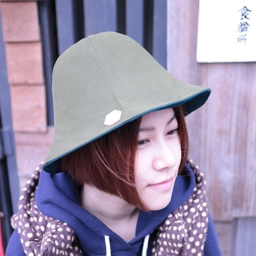 JOJA │ dark green x goods green leather texture double-sided flower cap custom