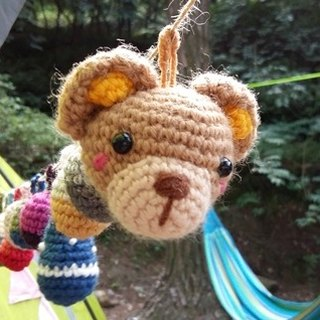 Amigurumi crochet: Camping ball, Colorful woolen ball, Pom Pom Garland, Forest Bear