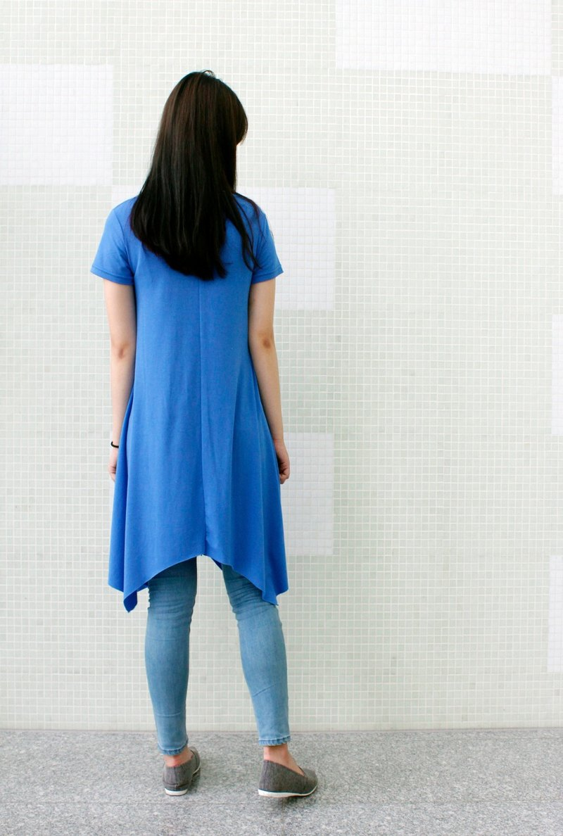 Dress with Dipped Hem-light blue