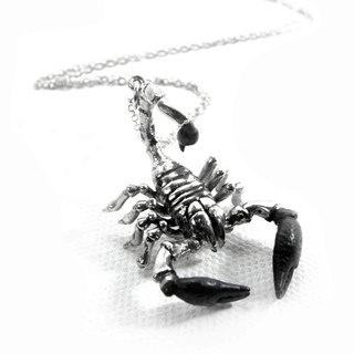 Zodiac pendant Scorpion for Scorpio in white bronze and oxidized antique color ,Rocker jewelry ,Skull jewelry,Biker jewelry