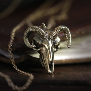 Goat Skull Necklace by Defy / Cool Golden Goat Skull Charm Pendant / Unisex Jewelry