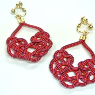 Mizuhiki morning knot earrings (Red × wine red) Pierce changeable