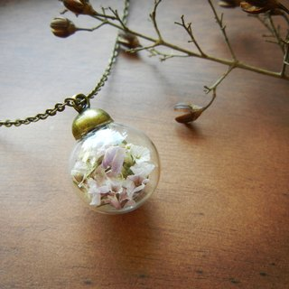 *coucoubird*Rustic Style glass necklace - pink and white
