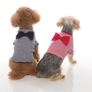 Beach edging three-dimensional bow round neck striped short version pet clothing
