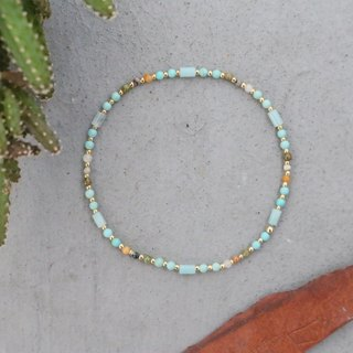 Amazonite  jade bracelet brass 0598(Good news is around the corner)