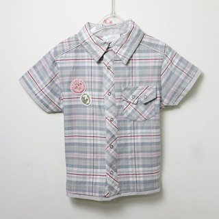 Red Grey Plaid short sleeve shirt