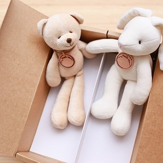 [My little star] Valentine Bear handmade organic cotton mini & mini rabbit combination (custom leather card)