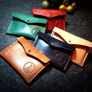Fiber hand-made hand-stitched vegetable tanned leather business card holder card holder Purse Valentine's Day Limited