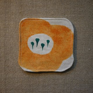 Burlap coaster - pumpkin flower