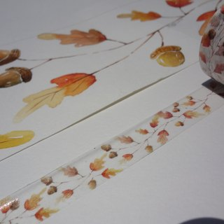 Hand-painted watercolor paper tape - autumn fruits
