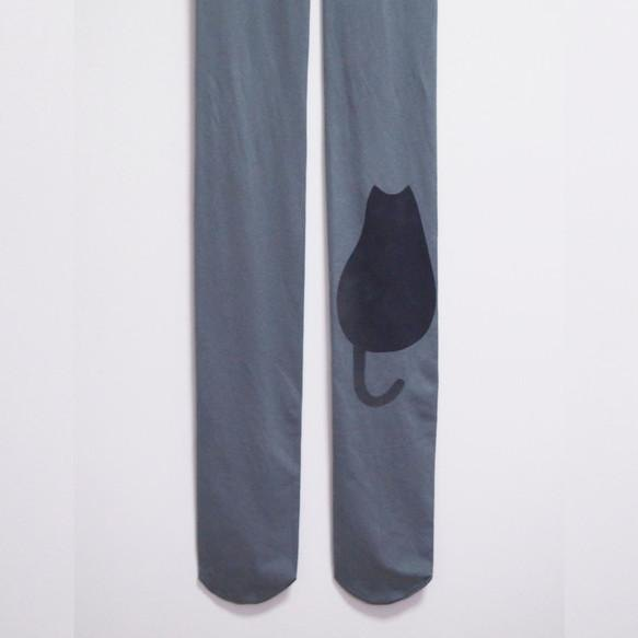Big one point tights black cat silhouette [Made to order]