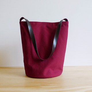 Dark red canvas small bucket (round) leather put shoulder bag