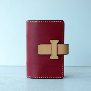 isni [Multifunction card case / card holder] pomegranate-red retro design /handmade leather/free imprint