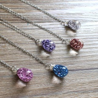 Classic mineral sand droplets modeling hand glass ball white steel necklace