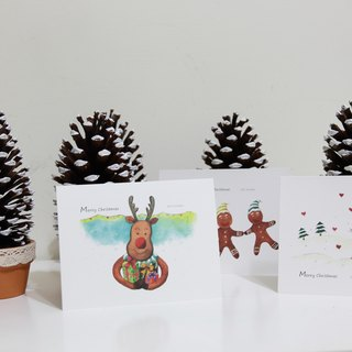 Christmas snowman elk postcards Gingerbread Man