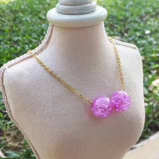 """LaPerle"" 2 粒 dream Zibing popcorn flower necklace 16k gold-plated brass bead necklace Handmade Christmas gifts"