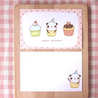 Postcards - panda cupcake birthday card