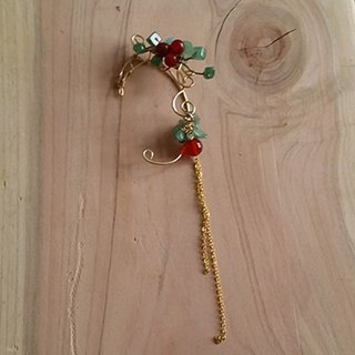 Kee Ling Tong set up such names adorn ~ Rose ~ Holly} {elf brass wire imports natural red agate red glaze green hand long the change DF earrings ear hook