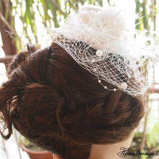 White pillbox hat, Wedding Hair Accessory, Bridal Head Piece
