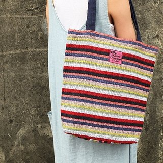 【Grooving the beats】Handmade Hand Woven Tote Bag / Shoulder Bag(Dark Red)
