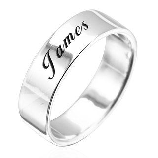 Custom Ring Engraving Silver Ring 7mm Flat Lettering English Text Name Pure Silver Ring
