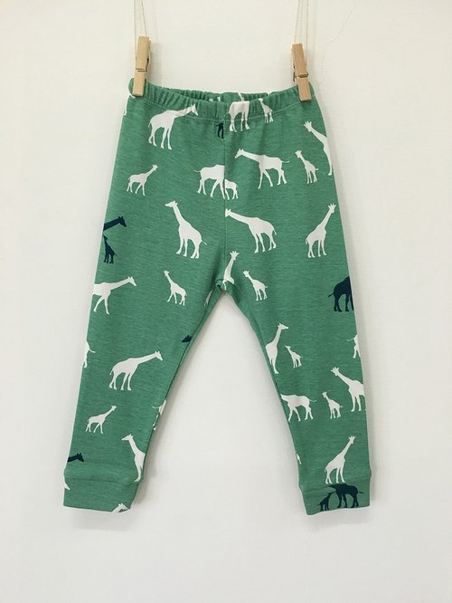 Gujui Love Giraffe (Green) - Organic Cotton Trousers