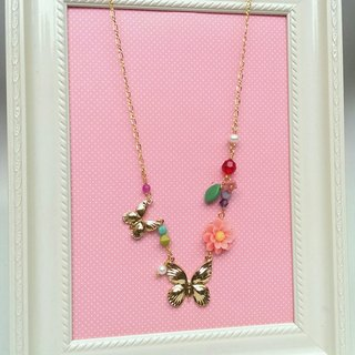 Butterfly's world (pink) 24k gold-plated brass hypoallergenic necklace