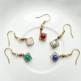 ::Geometry - Rounds & Squares:: Natural Stone Beads Dangle Brass Earrings